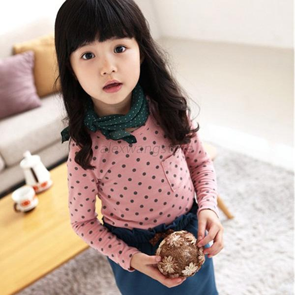 Korean Baby Kids Girl Dots Long Sleeve T-shirt Tops Blouse Tee Shirt 2-7Year A49