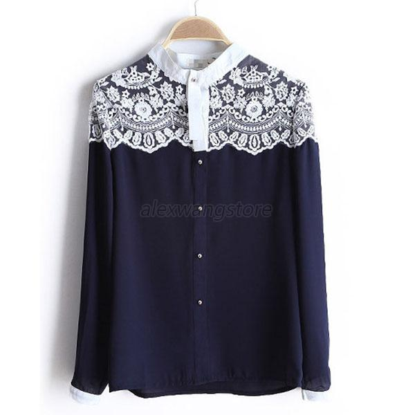 Women Chiffon Lace Floral Stand Neck Long SLeeve T-Shirt Tops Blouse Size S M L