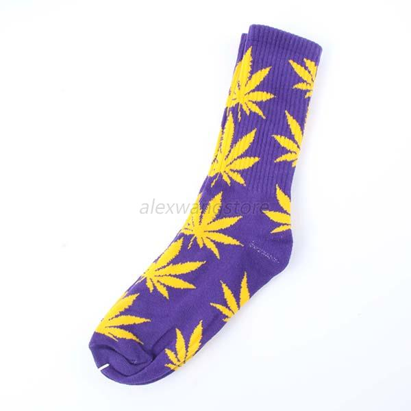24 Colors Unisex Maple Leaf Marijuana Weed Cotton High Socks Ankles Ship Socks