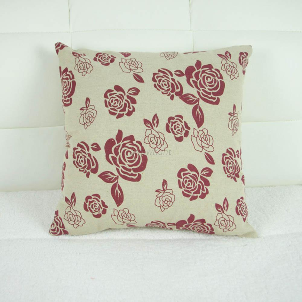 Trendy Vintage Cotton Linen Throw Pillow Cases Sofa Home Decor Cushion Cover A50 eBay