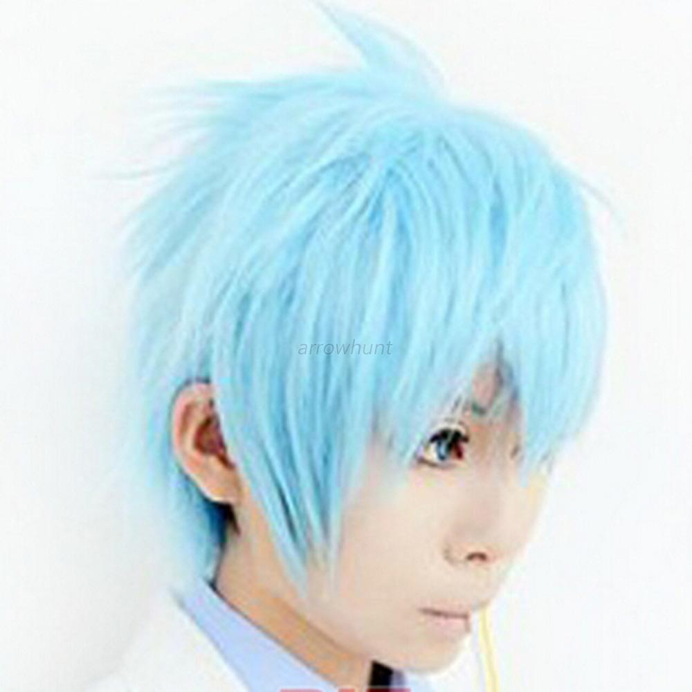 Mans Boy Short Wig Fashion Cosplay Party Costume Straight Wigs Full Wig +Cap New