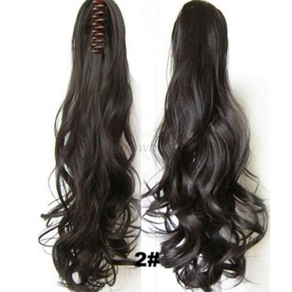 New Clip In Ponytail Pony Tail Hair Extension Claw Hairpiece Long Wavy Curly A40
