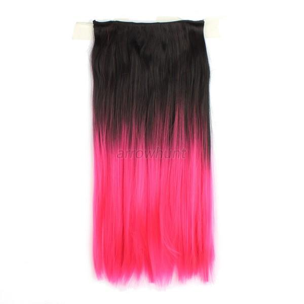 """Fashion 3/4 Full Head Clip in Human Made 22"""" Synthetic Straight Hair Extensions"""