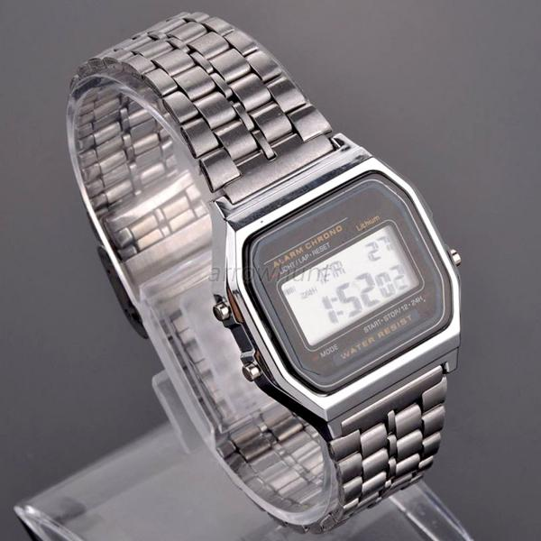 Vogue Child Boy Men's Square LED Digital Stainless Steel Sports Wrist Watch A97