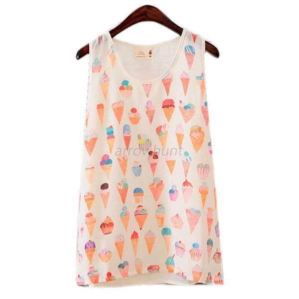 Sexy Hot Wome's Chiffon Cartoon Vest Tank Top T Shirt Sleeveless Blouse Shirts