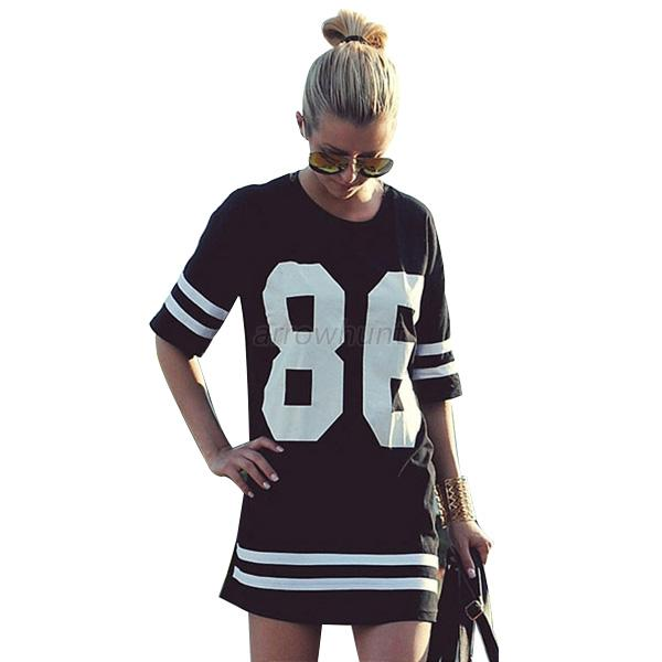 Lady Womens HipHop Baseball 86 Print T-Shirt Tops Blouse Sweatshirt Pullover A38