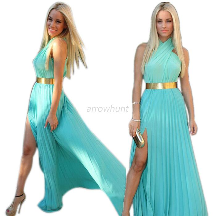 Women's Summer Bohemia Maxi Dress Long Party Cocktail Skirt Chiffon Halter Dress