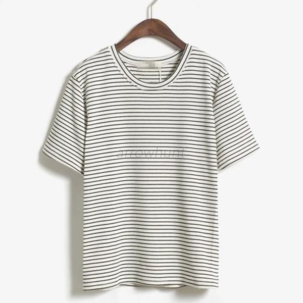 Soft Cotton Short Sleeve T-shirts Women's Striped Blouse Tops Casual Shirts A45