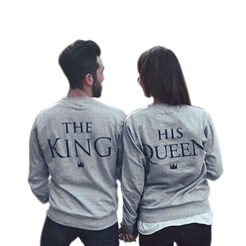 stylish couple matching hoodies king and queen print. Black Bedroom Furniture Sets. Home Design Ideas
