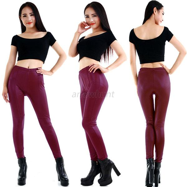 Sexy Fashion Ladies Women's Faux Leather Leggings Stretchy Tight Pants Trousers