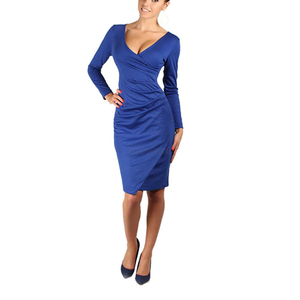 Sexy Long Sleeve V Neck Bodycon Clubwear Cocktail Office Business Pencil Dress