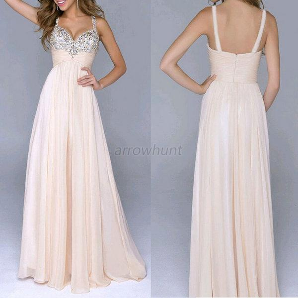 New Long Formal Evening Ball Gown Party Prom Bridesmaid Dress Stock Size 6-12