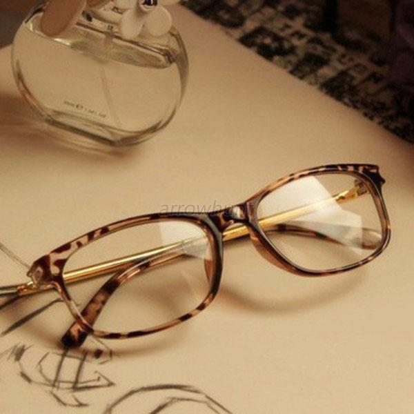 Retro Men Womens Clear Lens Eyewear Plastic Round Frame