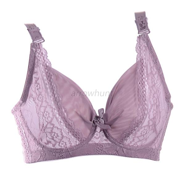Women's 3/4 Cup Coverage Jacquard Padded Lace Sheer Underwire Bra  34-42B A69