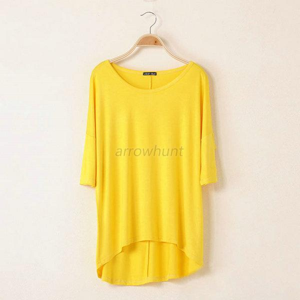 Casual Women Oversized Batwing Short Sleeve Cotton Loose Blouse Top T-shirt Tee