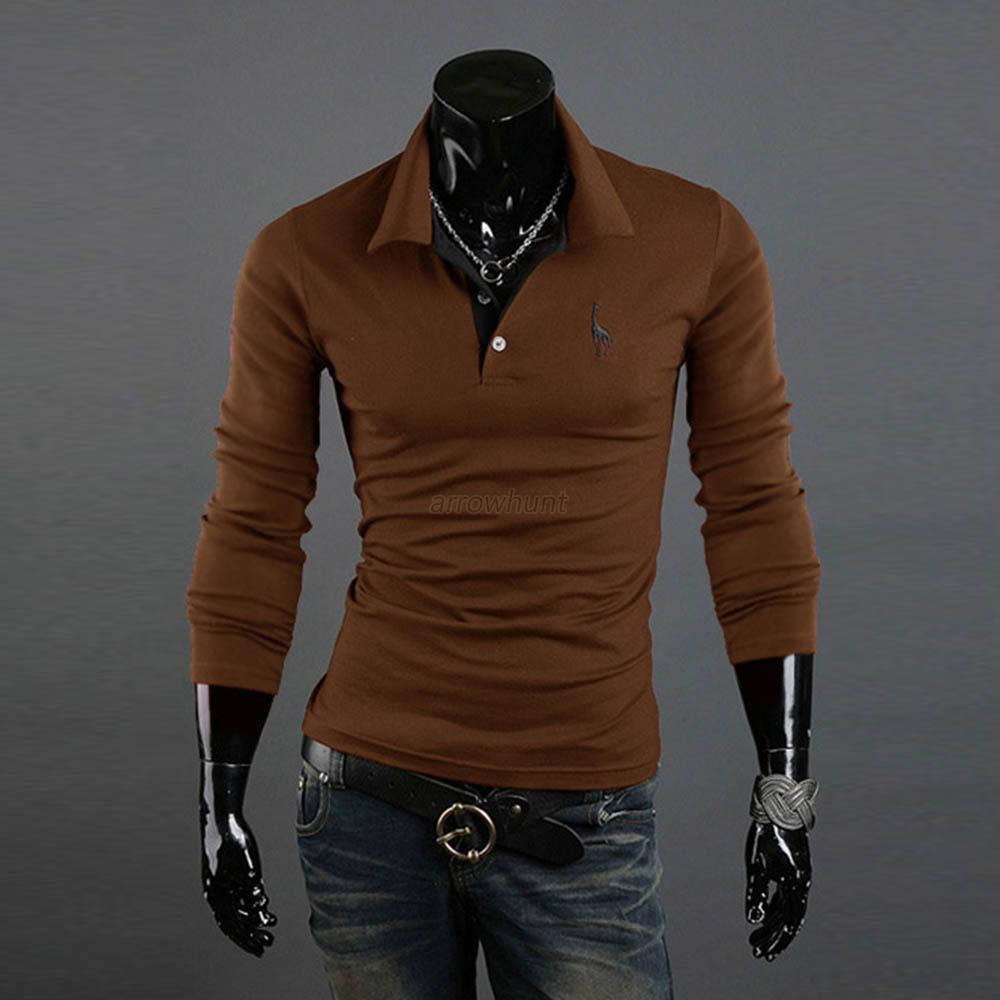 Hot new men 39 s shirt slim fit long sleeve t shirts casual for Long sleeve fitted tee shirt