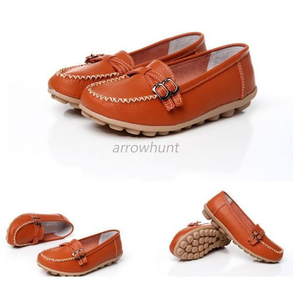 fashion casual womens leather flats shoes non slip