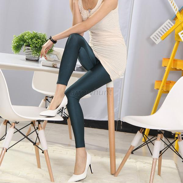 Stylish Women Girl Skinny Stretchy Footless Leather Look Leggings Pencil Pants