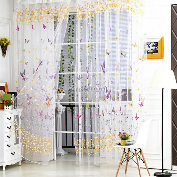 Fully Stitched Curtain Butterfly Sheer Voile Window Door Panel Drape Valance A71