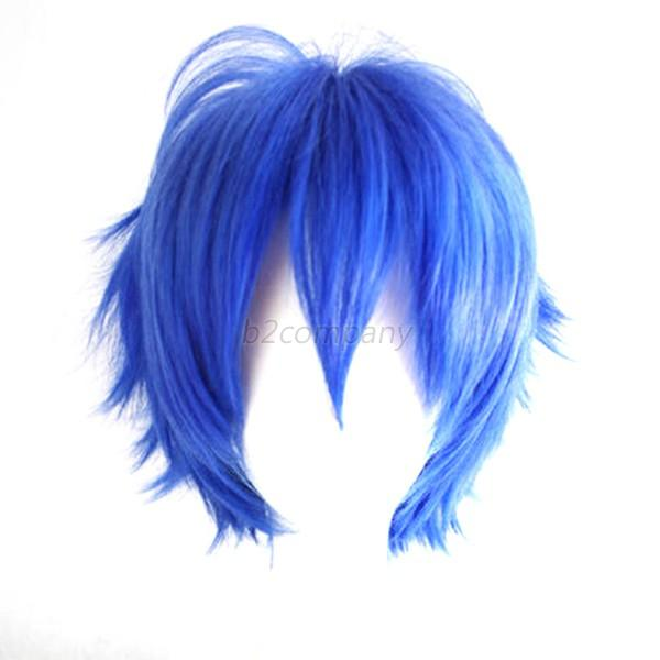 Hot Men Heat Resistant Short Straight Curly Wavy Cosplay Party Hair Full Wig B33