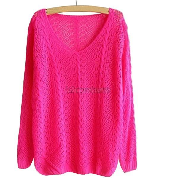 Lady Womens Loose Long Sleeve Hollow V-neck Sweater Pullover Knit Top Blouse Top
