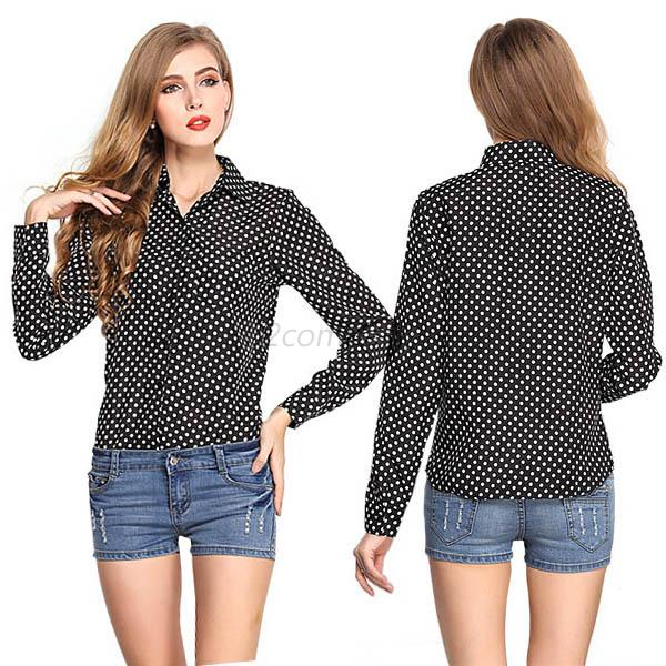 9 styles fashion women girls long sleeve sheer tops for Shirt styles for ladies