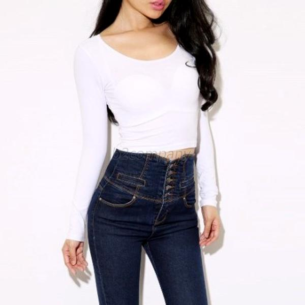 New Womens Round Neck Casual Long Sleeve Blouse Tops Crop Top Cotton T-Shirt B41