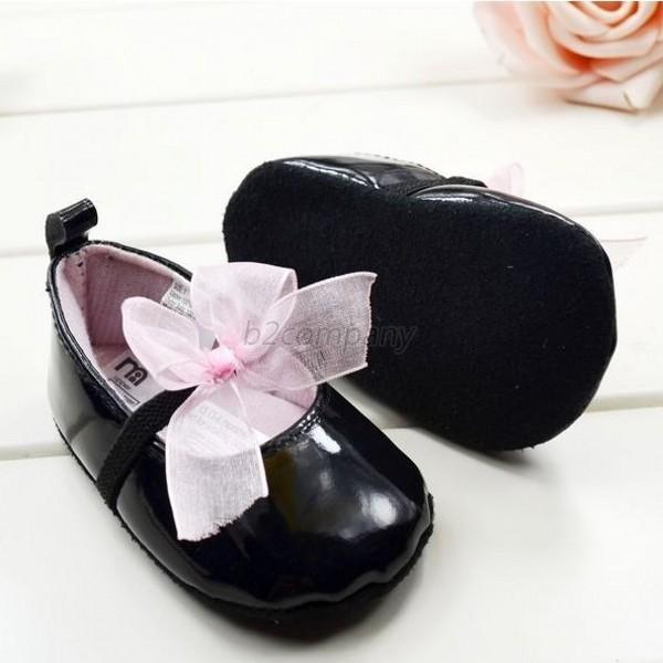 Toddler Infant Girls Bow/Flower Baby Shoes Soft Sole PU Leather Crib Shoes 3-9M