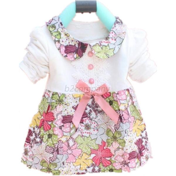 Toddler Baby Girl Floral Cotton Princess Dress Clothes Bowknot Long Sleeve Skirt
