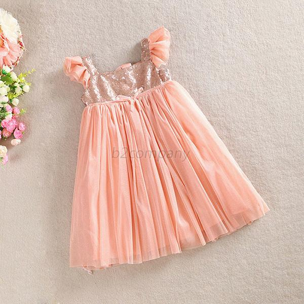 Kids Girl Cap Sleeve Princess Dress Skirt Baby Sequins Tulle One-piece TUTU B59