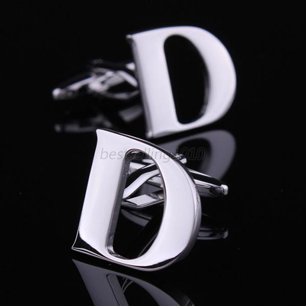 Gentlemen Silver Vintage Men's Wedding Gift Alphabet Cufflinks Cuff Links B21