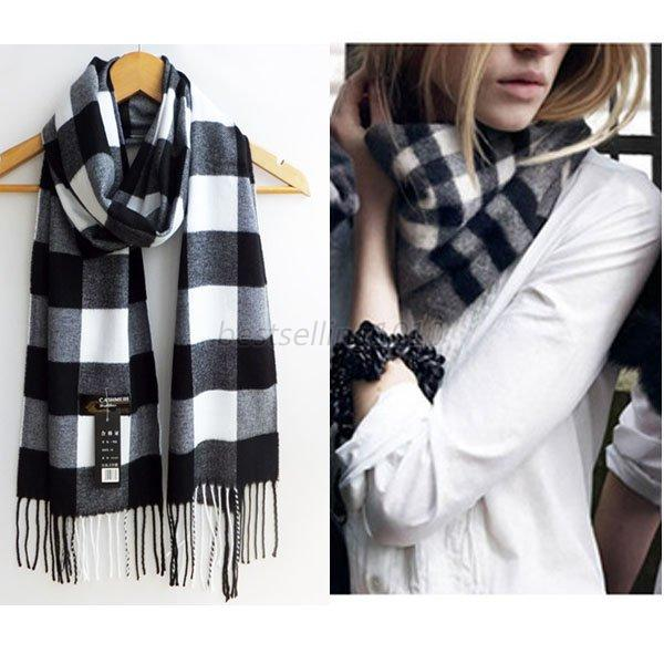 Mens Women Wool Blend Plaid Wrap Fleece Vogue Winter Warm Scarf Shawl Scarve B95