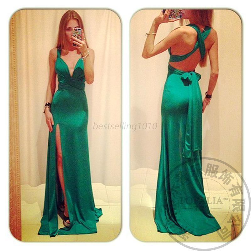 New Women Long Maxi Dress Cross Backless Prom Ball Evening Cocktail Party Wear