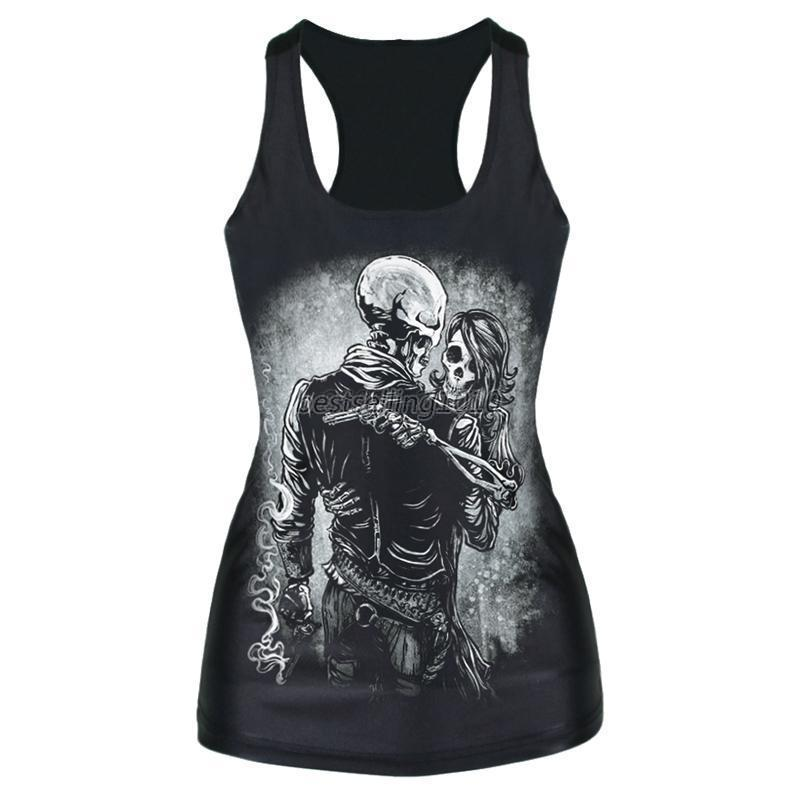 Womens Sexy Digital Print Gothic Tank Top Vest Polyester Blouse Tee Camisole H37