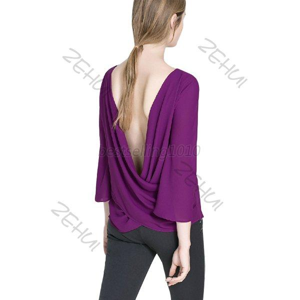 Chic Women Backless Boat Neck Loose Chiffon Tops T-Shirts Blouse Solid Color XL