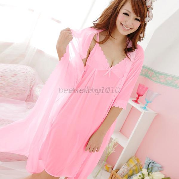 Women Silk Comfy Satin Pajamas Set Bow Sleep Dress Nightgown Sleepwear 2pcs B73