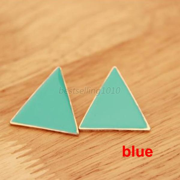 Stylish Candy Color Gold Plated Ear Stud Colorful Geometric Triangle Earring New