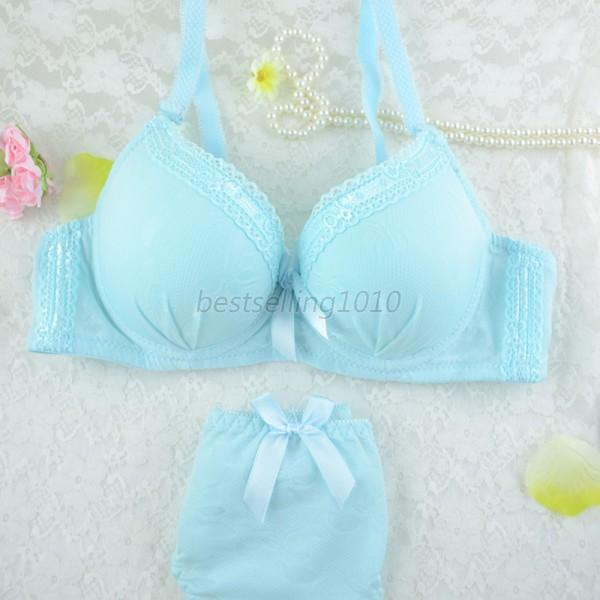 New Deep V Women Lady Sexy Lace Decro Push Up Bra Underwire Outfit Set 32B-36B