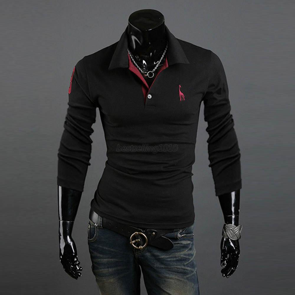 10colors mens casual shirts tops tee v neck polo long for What is polo neck t shirts