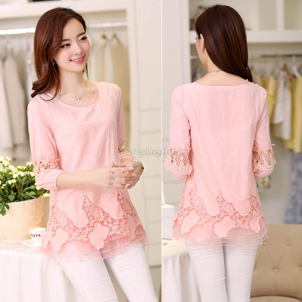Korean Fashion Women Floral Chiffon Tops Half Sleeve Shirt Lace Loose Blouse Hot Ebay