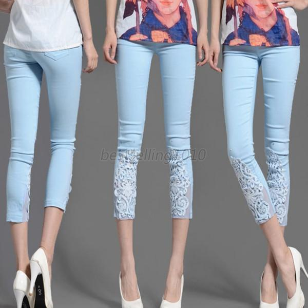 Lady Black/White/Blue Stretch Skinny Cropped Cotton Hollow Lace Leggings M-XXXXL