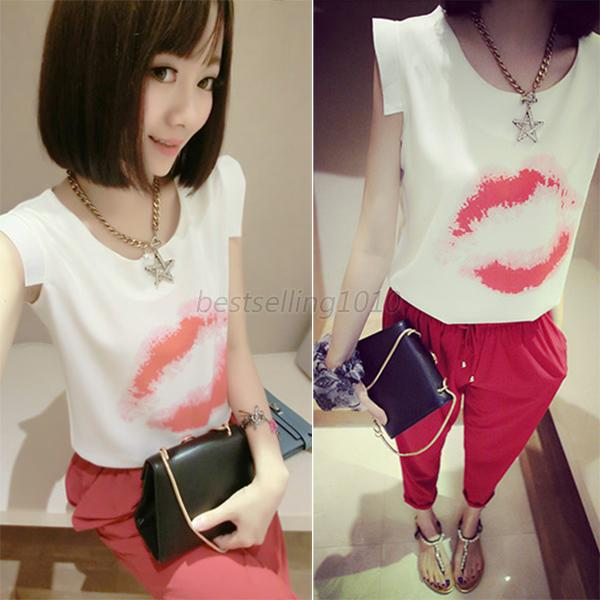 Girls Women's Sleeveless Shirts Bottle/Lip/Bow Print T-Shirt Chiffon Blouse B26