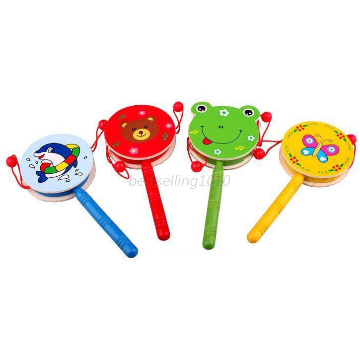 Baby Infant Hand Bell Rattle Animal Print Drum Puzzle Musical Wooden Toys Random