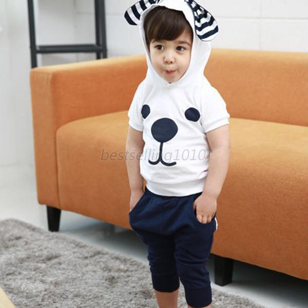 Kids Boys Girls Cotton 2PCS Suits Outfits Hooded Tops+ Harem Shorts Costume B46