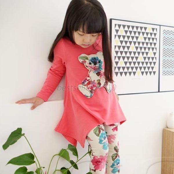 Kids Girls Long Sleeve Irregular Hem Bear Tops T Shirt+Flower Pants Outfits B33