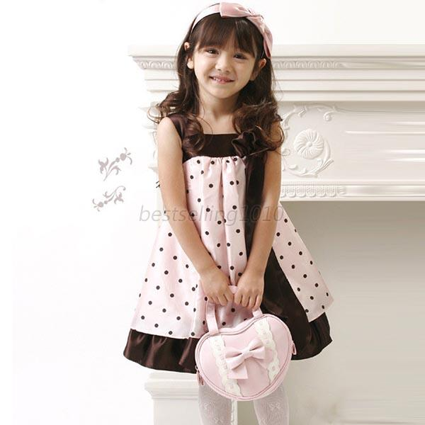 2-6Y Baby Girls Polka Dot Bowknot Chiffon Dress Corsage Braces Sundress Summer