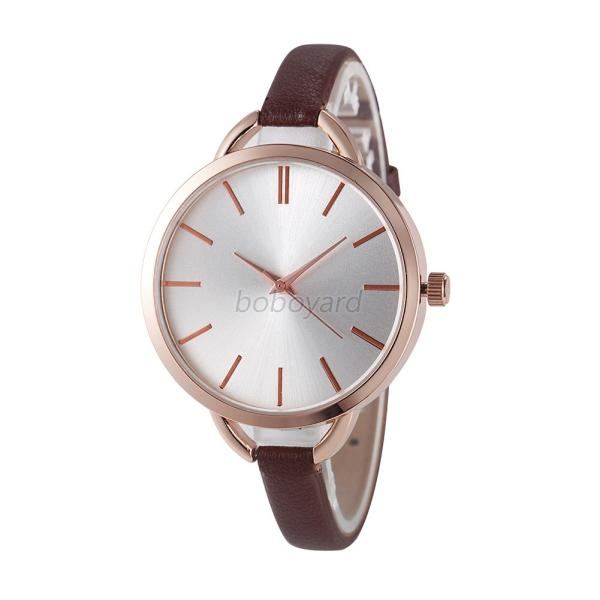 Fashion Round Women Watch PU Leather Band Alloy Dial Casual Wristwatch Lady Gift