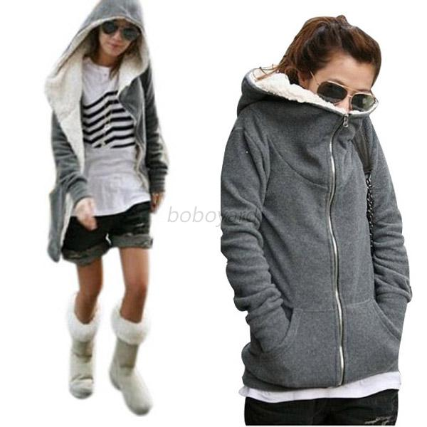 Vogue Winter Women Hoodie Sweater Coat Long Sleeve Fleece Zipper Casual Jacket