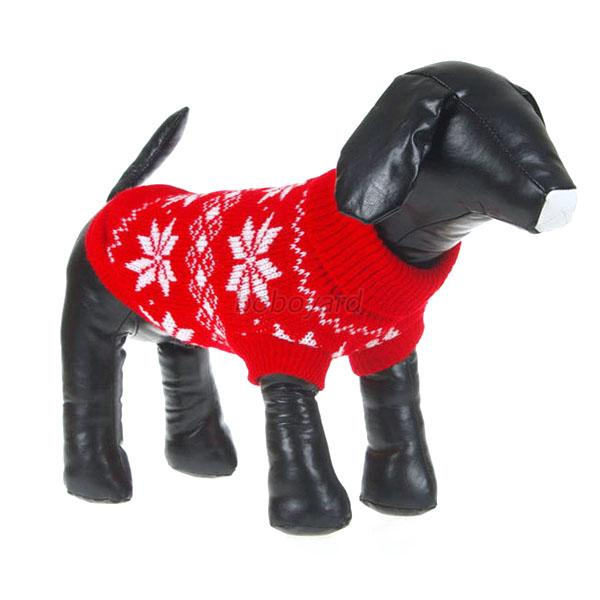 Winter Dog Pet Xmas Snowflake Sweater Clothes Knit Puppy Outwear Apparel XS-XXL