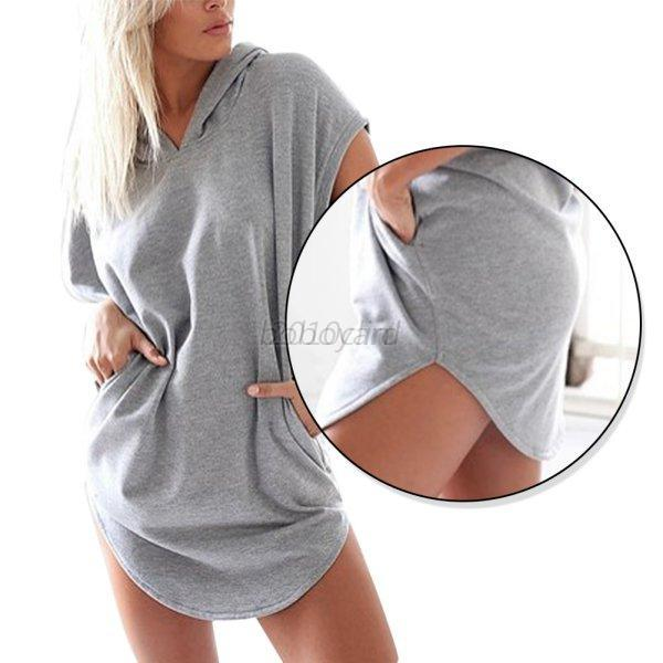 Gray-Women-Girl-Casual-Dress-Hoodies-Short-Sleeve-Sports-Long-Tops